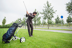 Businessman golf Practising Decision Determination