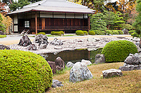 The Seiryu-en garden is the most recent part of Nijo Castle. It was constructed in 1965 in the northern part of the complex as a facility for receptions of official guests of the city of Kyoto and as a venue for cultural events. Seiryu-en has two teahouses and more than 1000 carefully arranged stones along the shores of its pond.