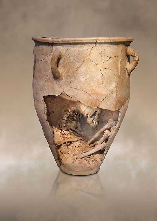 The Minoan clay burial pithos with skeleton in foetal,  Neopalatial period 1700-1450 BC; Heraklion Archaeological  Museum.<br /> <br /> The body was placed in a foetal postion to aid insertion into the wide mouthed pithos .<br /> <br /> If you prefer to buy from our ALAMY PHOTO LIBRARY  Collection visit : https://www.alamy.com/portfolio/paul-williams-funkystock/minoan-art-artefacts.html . Type -   Heraklion   - into the LOWER SEARCH WITHIN GALLERY box. Refine search by adding background colour, place, museum etc<br /> <br /> Visit our MINOAN ART PHOTO COLLECTIONS for more photos to download  as wall art prints https://funkystock.photoshelter.com/gallery-collection/Ancient-Minoans-Art-Artefacts-Antiquities-Historic-Places-Pictures-Images-of/C0000ricT2SU_M9w