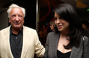 Michael Winner and Paola Pedrini. 'Maze' Gordon Ramsay  restaurant launch. 10-13 Grosvenor Square. London. 24 May 2005. ONE TIME USE ONLY - DO NOT ARCHIVE  © Copyright Photograph by Dafydd Jones 66 Stockwell Park Rd. London SW9 0DA Tel 020 7733 0108 www.dafjones.com