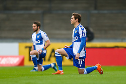 Sam Nicholson of Bristol Rovers takes a knee - Rogan/JMP - 30/11/2020 - FOOTBALL - Memorial Stadium - Bristol, England - Bristol Rovers v Darlington - FA Cup Second Round Proper.