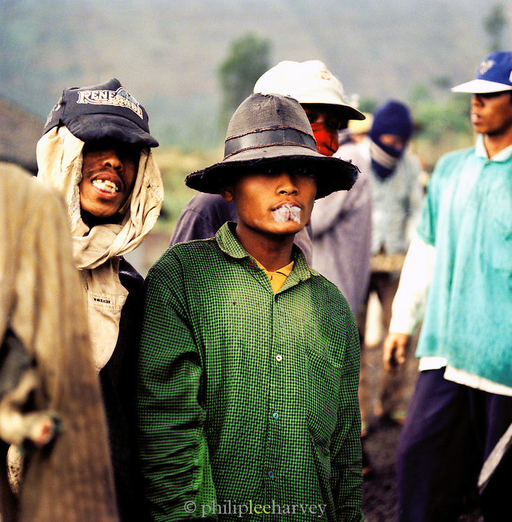 Group of roadworkers in Java, Indonesia