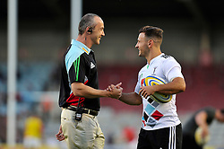 Harlequins Director of Rugby Conor O'Shea speaks to Danny Care pre-match - Photo mandatory by-line: Patrick Khachfe/JMP - Mobile: 07966 386802 12/09/2014 - SPORT - RUGBY UNION - London - Twickenham Stoop - Harlequins v Saracens - Aviva Premiership