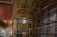 Colonial Theater restoration work.  Stenciling under balcony.  Canal Street Annex.  ©2020 Karen Bobotas Photographer