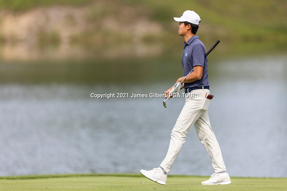 NEWBURGH, IN - SEPTEMBER 03: Brandon Wu looks on as he walks on the 18th hole during the second round of the Korn Ferry Tour Championship presented by United Leasing and Financing at Victoria National Golf Club on September 3, 2021 in Newburgh, Indiana. (Photo by James Gilbert/PGA TOUR via Getty Images)