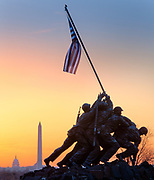 The Marine Corps War Memorial (also called the Iwo Jima Memorial) is a military memorial statue outside the walls of the Arlington National Cemetery and next to the Netherlands Carillon, in Arlington, Virginia, in the United States. The memorial is dedicated to all personnel of the United States Marine Corps who have died in the defense of their country since 1775. The design of the massive sculpture by Felix de Weldon was based on the iconic photo Raising the Flag on Iwo Jima, taken during the Battle of Iwo Jima by Associated Press photographer Joe Rosenthal.
