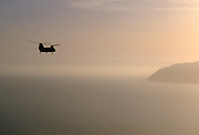 Chinook helicopter flying from USS Nimitz off USA coast near San Diego, California