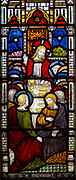 Victorian stained glass window, Tidworth south church, Wiltshire, England, UK by Clayton and  Bell Last Supper
