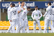 WICKET Kyle Abbott is congratulated for bowling Sam Evans during Day 3 of the LV= Insurance County Championship match between Leicestershire County Cricket Club and Hampshire County Cricket Club at the Uptonsteel County Ground, Leicester, United Kingdom on 10 April 2021.