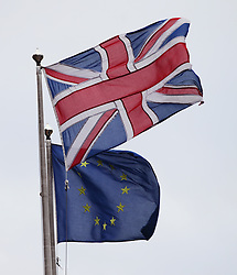 File photo dated 01/03/16 of the Union Jack pictured next to the European Union flag, as the number of workers in Britain looking for jobs in Ireland has soared by a fifth since the Brexit referendum result, a major recruitment website has said.