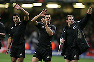 Dan Carter (c) of New Zealand applauds the supporters. Invesco Perpetual series 2008 autumn international match, Wales v New Zealand at the Millennium Stadium on Sat 22nd Nov 2008. pic by Andrew Orchard, Andrew Orchard sports photography,