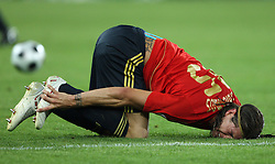 Sergio Ramos of Spain (15) injured during the UEFA EURO 2008 Quarter-Final soccer match between Spain and Italy at Ernst-Happel Stadium, on June 22,2008, in Wien, Austria. Spain won after penalty shots 4:2. (Photo by Vid Ponikvar / Sportal Images)