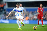 Joey Barton of Queens Park Rangers in action. Barclays Premier league match, Queens Park Rangers v Leicester city at Loftus Road in London on Saturday 29th November 2014.<br /> pic by John Patrick Fletcher, Andrew Orchard sports photography.