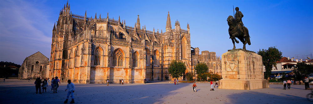 PORTUGAL, BATALHA ABBEY built in 1388 with statue of Joao I