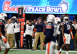 Auburn Tigers head coach Gus Malzahn reacts after a penalty during the second half of the Chick-fil-A Peach Bowl NCAA college football game at the Mercedes-Benz Stadium in Atlanta, January 1, 2018. UCF won 34-27 to go undefeated for the season. (David Tulis via Abell Images for Chick-fil-A Peach Bowl)