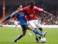 Photo: Ed Godden.<br /> Bristol City v Doncaster Rovers. Coca Cola League 1. 28/10/2006. Doncaster's Brian Stock (L) tackles Jennison Myrie-Williams.