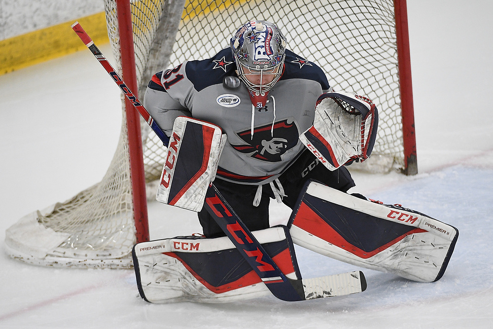 PITTSBURGH, PA - MARCH 14: Noah West #31 of the Robert Morris Colonials makes a save in the second period during Game Three of the Atlantic Hockey Quarterfinal series against the Niagara Purple Eagles at Clearview Arena on March 14, 2021 in Pittsburgh, Pennsylvania. (Photo by Justin Berl/Robert Morris Athletics)