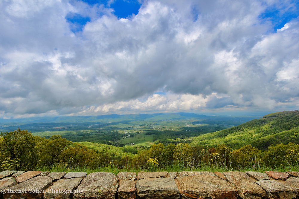 """""""Blue Ridge Bounty""""<br /> <br /> Wondrous Blue Ridge mountain scene as viewed from the historic stone walls along the overlooks!!<br /> <br /> The Blue Ridge Mountains by Rachel Cohen"""