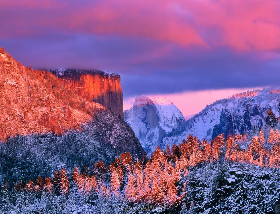 El Capitan and Half Dome  at Sunset,Yosemite National Park, California