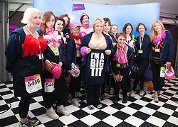 """© Licensed to London News Pictures. 12/05/2012. London, England. Jennifer Saunders with members of her team (Jen's Big Tits Team). The MoonWalk London 2012, Celebrating 15 years of Moon Walking for the breast cancer charity """"Walk the Walk"""". Photo credit: Bettina Strenske/LNP"""