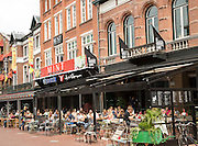 People sitting at street cafes, Eindhoven city centre, North Brabant province, Netherlands