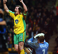 PICTURE BY DANIEL HAMBURY/SPORTSBEAT IMAGES<br /> Nationwide Football League Division One    <br /> <br /> NORWICH V GILLINGHAM  16/3/04<br /> <br /> Norwich City's Malky Mackay celebrates his sides first goal