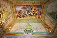 The Room of Mars - The Neoclassical fresco by Antonia Gallianop painted in 1815, represents the death of Hector and the triumph of Hector .The Kings of Naples Royal Palace of Caserta, Italy. A UNESCO World Heritage Site .<br /> <br /> Visit our ITALY HISTORIC PLACES PHOTO COLLECTION for more   photos of Italy to download or buy as prints https://funkystock.photoshelter.com/gallery-collection/2b-Pictures-Images-of-Italy-Photos-of-Italian-Historic-Landmark-Sites/C0000qxA2zGFjd_k<br /> <br /> <br /> Visit our EARLY MODERN ERA HISTORICAL PLACES PHOTO COLLECTIONS for more photos to buy as wall art prints https://funkystock.photoshelter.com/gallery-collection/Modern-Era-Historic-Places-Art-Artefact-Antiquities-Picture-Images-of/C00002pOjgcLacqI