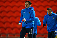 George Dobson of AFC Wimbledon warming up during the EFL Sky Bet League 1 match between Doncaster Rovers and AFC Wimbledon at the Keepmoat Stadium, Doncaster, England on 26 January 2021.