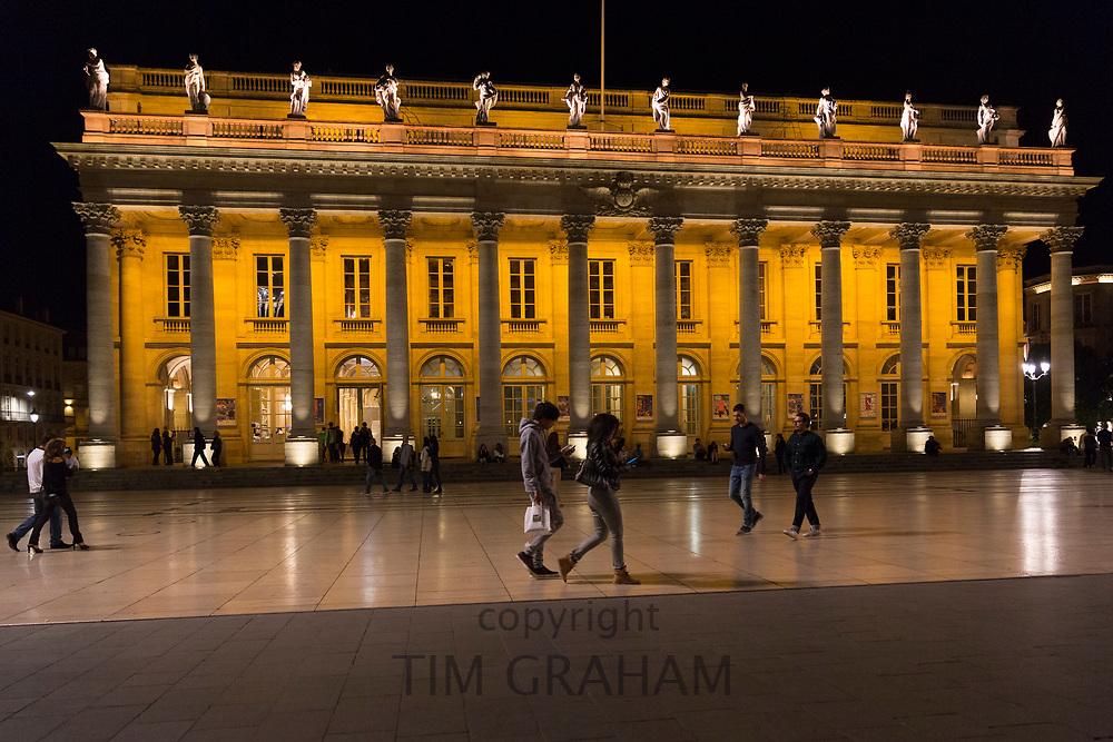People in front of the Grand Theatre - Opera National de Bordeaux, Place de la Comedie, Bordeaux, France