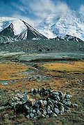Mustagh Pass ( First crossed by Younghusband) - old campsite in moraines of Sarpo Laggo glacier, Chinese Karakoram 1994