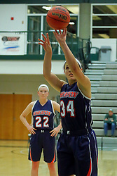06 December 2017:  Hannah Frazier at the line during an NCAA women's basketball game between the Wheaton Thunder and the Illinois Wesleyan Titans in Shirk Center, Bloomington IL