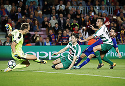 September 19, 2017 - Barcelona, Spain - Leo Messi scores during La Liga match between FC Barcelona v SC Eibar , in Barcelona, on September 19, 2017. (Credit Image: © Joan Valls/NurPhoto via ZUMA Press)