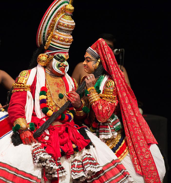 "Kalamandalam Roudrabheema (Bhima) and Kalamandalam Anil Kumar (Draupadi), Kerala Kalamandalam Kathakali Troupe, performing Dussasana Vadhom (""The Killing of Dussasana"") from the Mahabharata , part of Lincoln Center's White Light Festival"