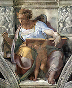 Prophet Daniel from the painted frescos within the Sistine Chapel Rome by Michelangelo 1508-1512