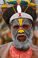 Man from Western Highlands or Enga Province..Mount Hagen, Western Highlands Province, Papua New Guinea.