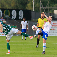 28.08.2019, Stadion Lohmühle, Luebeck, GER,  VFB Lübeck/Luebeck vs VfL Wolfsburg IIi<br /> <br /> DFB REGULATIONS PROHIBIT ANY USE OF PHOTOGRAPHS AS IMAGE SEQUENCES AND/OR QUASI-VIDEO.<br /> <br /> im Bild / picture shows<br /> Patrick Hobsch (VfB Luebeck) im Zweikampf gegen Dominik Marx VfL Wolfsburg II.<br /> <br /> Foto © nordphoto / Tauchnitz