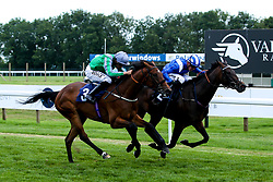 Brown Honey ridden by Sean Levey trained by Ismail Mohammed and Alandalos ridden by Jim Crowley trained by Charles Hills in the Fillies' Novice Stakes - Mandatory by-line: Robbie Stephenson/JMP - 27/08/2019 - PR - Bath Racecourse - Bath, England - Race Meeting at Bath Racecourse