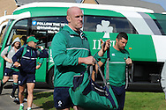 Paul O'Connell © of Ireland arrives for the Ireland rugby team training at Newport High School in Newport , South Wales on Friday 9th October 2015.the team are preparing for their next RWC match against France this Sunday.<br /> pic by  Andrew Orchard, Andrew Orchard sports photography.