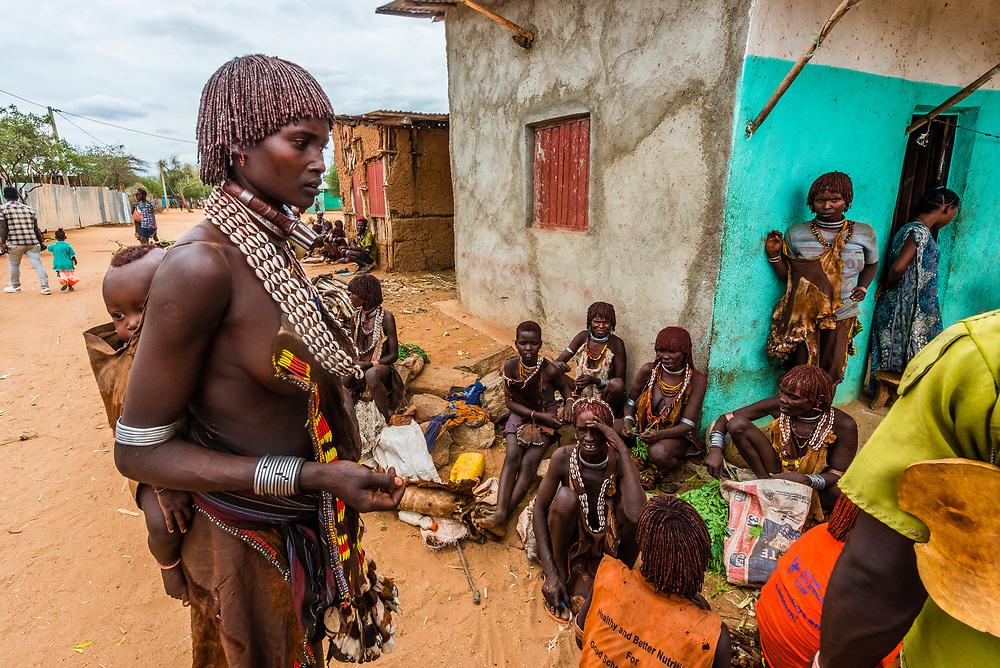 Hamer tribe weekly market in Turmi, Omo Valley, Ethiopia.