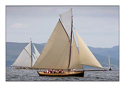Ayrshire Lass 1887 Gaff Cutter..The Round the Cumbraes race to open the regatta. Light variable breeze and grey skies shrouded the fleet with a strong spectator fleet...* The Fife Yachts are one of the world's most prestigious group of Classic .yachts and this will be the third private regatta following the success of the 98, .and 03 events.  .A pilgrimage to their birthplace of these historic yachts, the 'Stradivarius' of .sail, from Scotland's pre-eminent yacht designer and builder, William Fife III, .on the Clyde 20th -27th June.   . ..More information is available on the website: www.fiferegatta.com . .Press office contact: 01475 689100         Lynda Melvin or Paul Jeffes