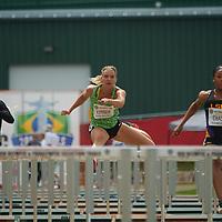 Katelyn Lehner runs in the Women's 100m Hurdle prelims.