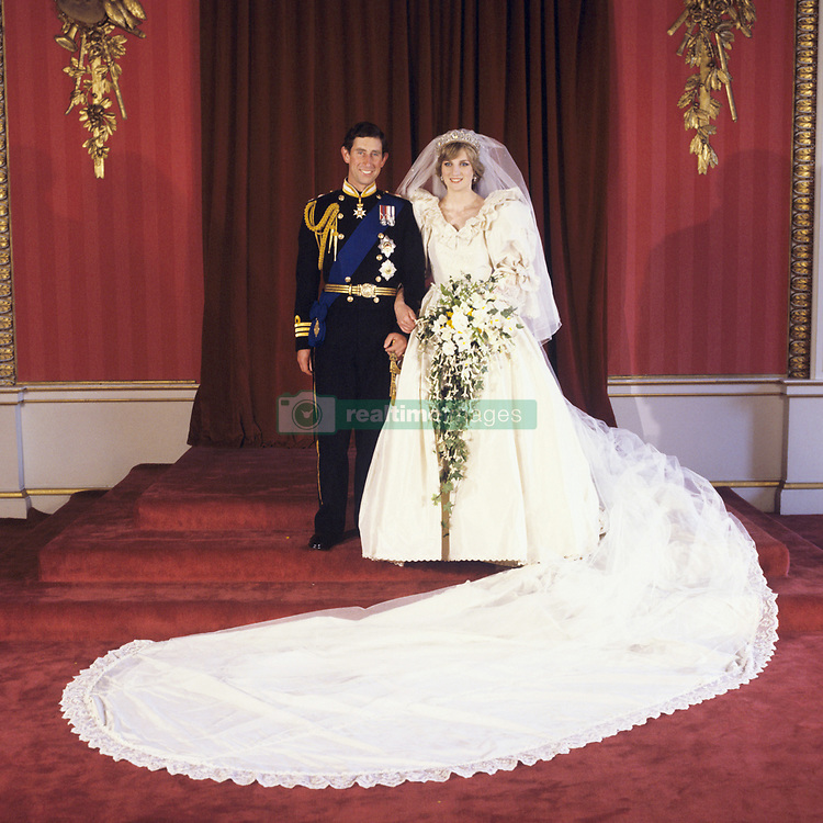 The Prince and Princess of Wales at Buckingham Palace after their wedding at St Paul's Cathedral July 29, 1981.