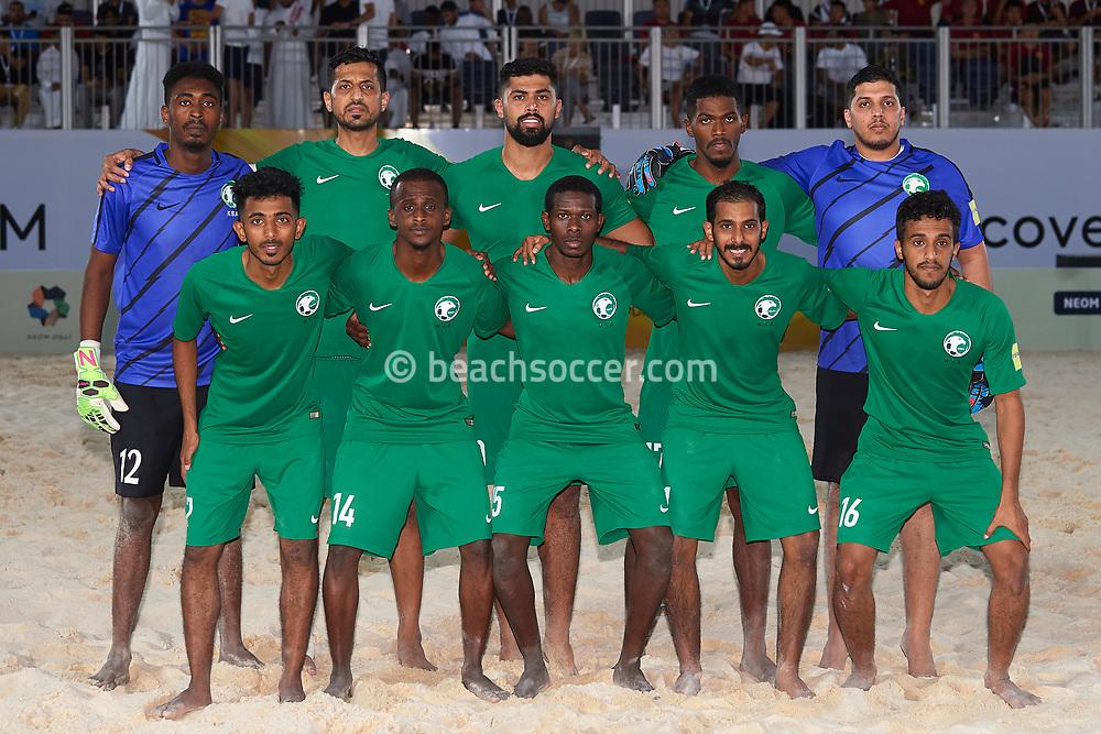 NEOM, SAUDI ARABIA - JULY 19: Saudi Arabia team during the Neom Beach Soccer Cup at Neom on July 19, 2019 in Neom, Saudi Arabia. (Photo by Mateo Villalba)