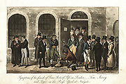 Tom, Jerry and Logic in the Press Yard, Newgate prison, London, watching shackles being removed, while clergyman, left, waits to accompany convict to scaffold. Illustration by IR&G Cruickshank for Pierce Egan 'Life in London', 1821. Aquatint.
