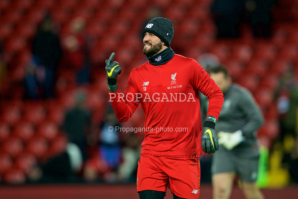 LIVERPOOL, ENGLAND - Wednesday, January 30, 2019: Liverpool's goalkeeper Alisson Becker during the pre-match warm-up before the FA Premier League match between Liverpool FC and Leicester City FC at Anfield. (Pic by David Rawcliffe/Propaganda)