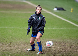 BIRKENHEAD, ENGLAND - Sunday, March 14, 2021: Coventry United's substitute goalkeeper Olivia Clark during the pre-match warm-up before the FA Women's Championship game between Liverpool FC Women and Coventry United Ladies FC at Prenton Park. Liverpool won 5-0. (Pic by David Rawcliffe/Propaganda)