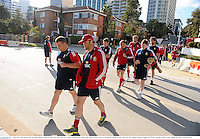 3 June 2013; Matt Stevens, left, and Jamie Roberts, British & Irish Lions, make their way to squad training ahead of their game against Western Force on Wednesday. British & Irish Lions Tour 2013, Squad Training, Langley Park, Perth, Australia. Picture credit: Stephen McCarthy / SPORTSFILE