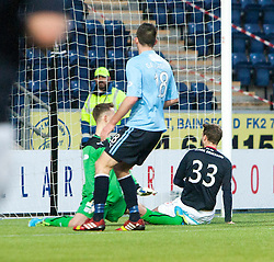 Falkirk's Rory Loy scoring their second goal.<br /> Falkirk 2 v 0 Dundee, Scottish Championship game at The Falkirk Stadium.<br /> © Michael Schofield.