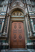 Door at Basilica di Santa Mario del Fiore in the Tuscan (Italy) town of Firenze, or Florence