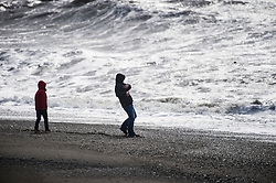 © Licensed to London News Pictures. 27/03/2016. Aberystwyth, UK. Storm Katie brings strong winds and huge waves to batter the seaside at Aberystwyth on Easter Sunday. The storm is projected to increase in severity, especially along the south facing coasts of England, with winds likely to gust up to 80mph in some places. Photo credit: Keith Morris/LNP
